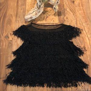 Tops - Zara black fringe top